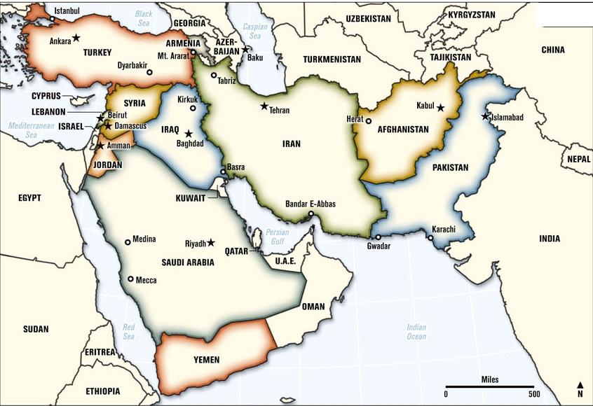 Middle East Map Answers - Us attention on the middle east outline map answers